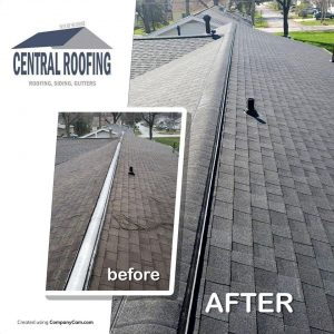 central roofing before and after pic
